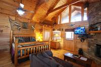 Smoky Mountain Honeymoon Cabin Rental offers King sized comfort for couples looking to relax. at ALWAYS AND FOREVER in Wears Valley TN